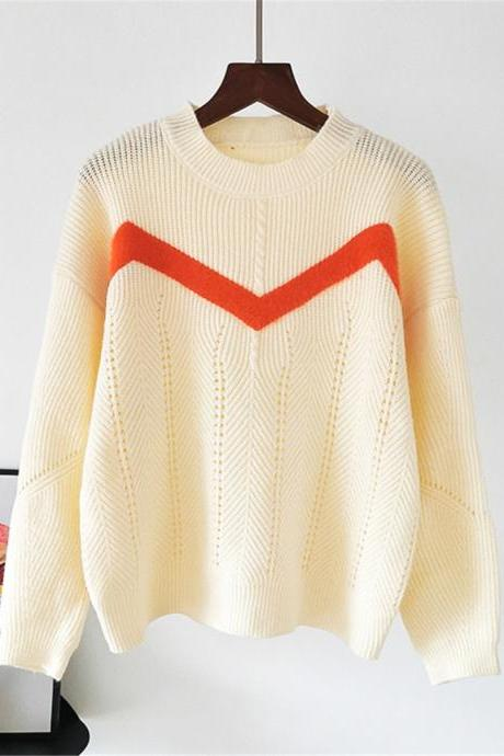 Free Shipping Beige Color Matching Stripe Loose Sweater