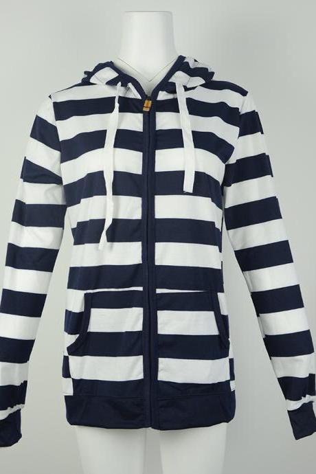 Free Shipping Casual Blue Loose Stripe Hoodie