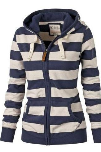 Free Shipping Casual Loose Stripe Hoodie