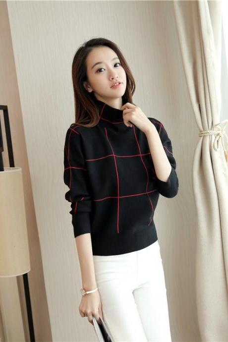 Free Shipping Black High Collar Striped Loose Sweater