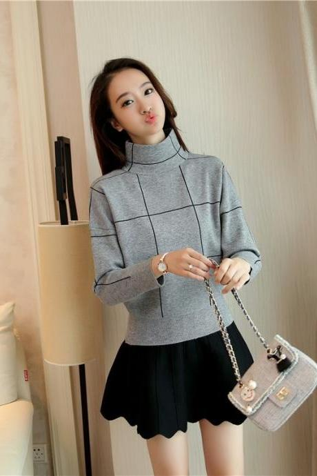 Free Shipping Gray High Collar Striped Loose Sweater