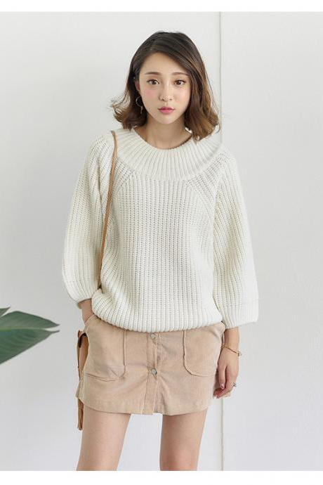 Free Shipping Sexy White Off Shoulder Loose Sweater