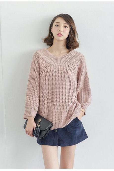 Free Shipping Sexy Pink Off Shoulder Loose Sweater