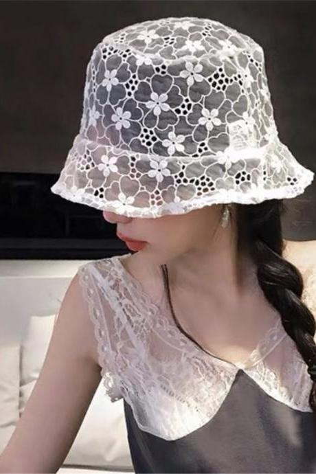 Fashion Floral Lace Flower Cap Hat Fisherman hat