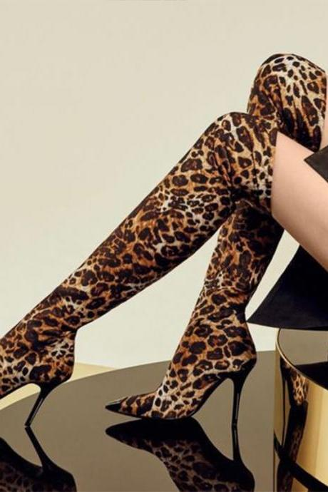 Fashion Leopard Pointed Toe Stretch Over Knee Boots