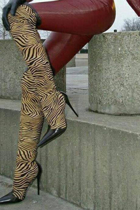 Party Zebra Pointed Toe Over Knee Boots