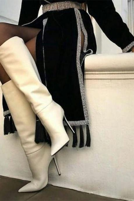 Fshion White PU High Heel Over Knee Boots