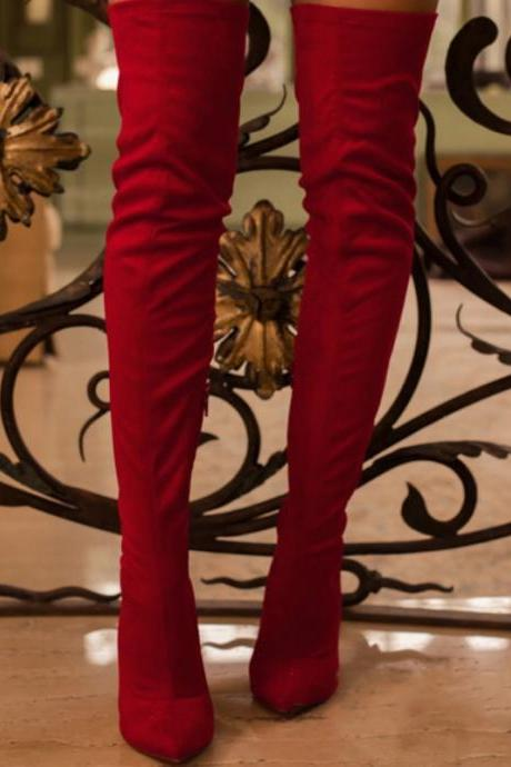Red Suede Plian Point Toe High Heel Over Knee Boots