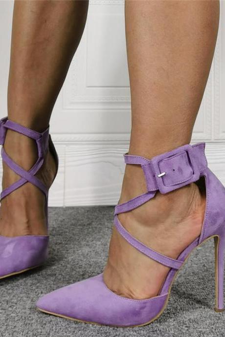 Purple Casual Plain Suede Point Toe High Heel Sandals