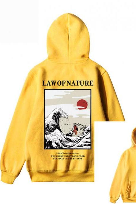 Yellow Japanese Embroidery Funny Cat Wave Printed Fleece Hoodies Winter Japan Style Hip Hop Casual Sweatshirts Streetwear