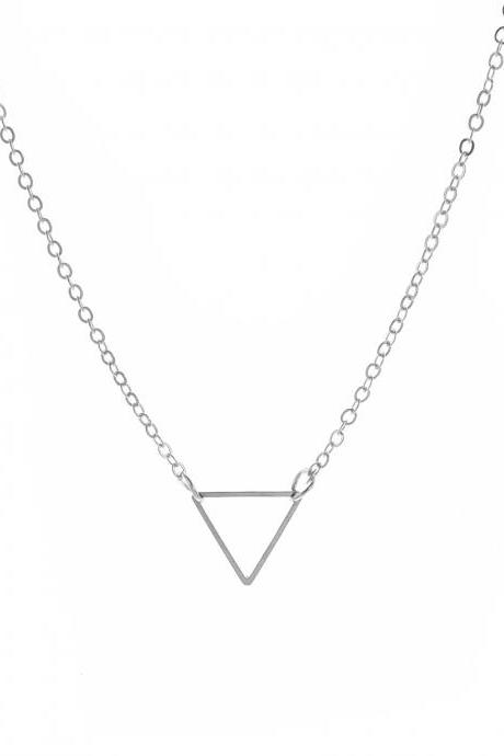 Free Shipping Metal cut out triangle Necklace-2