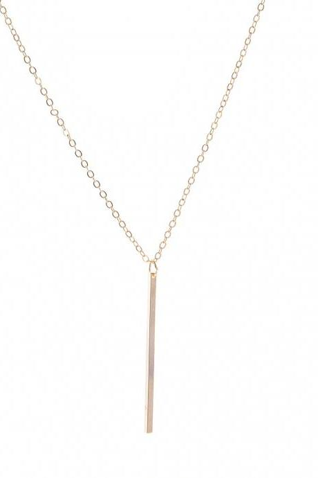 Free Shipping Simple fashion simple lasso vertical bar Necklace-1