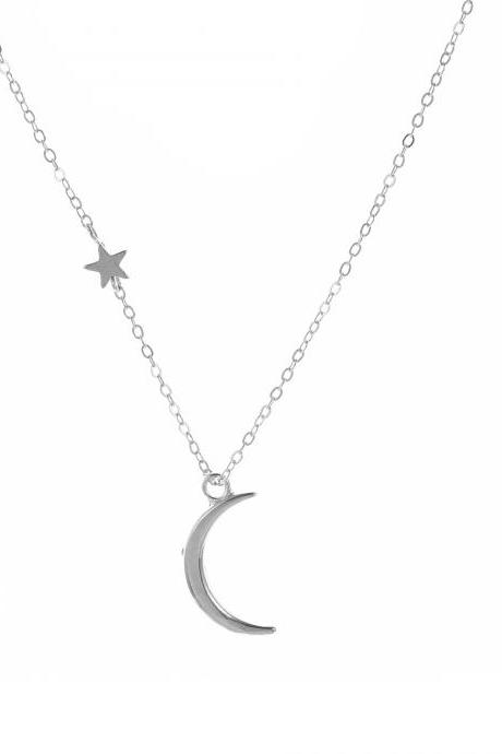 Free Shipping Moon Star Pendant Necklace women's short collarbone Necklace-1
