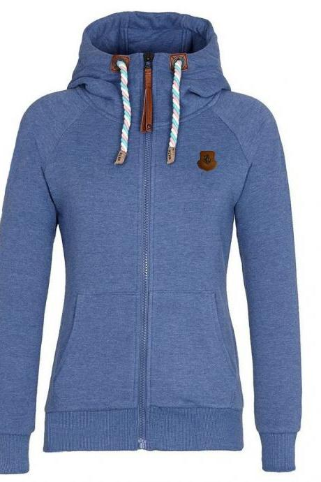 Solid Color Zipper Pocket Women Hoodie