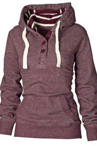 Striped Hooded Button Pocket Pullover Hoodie