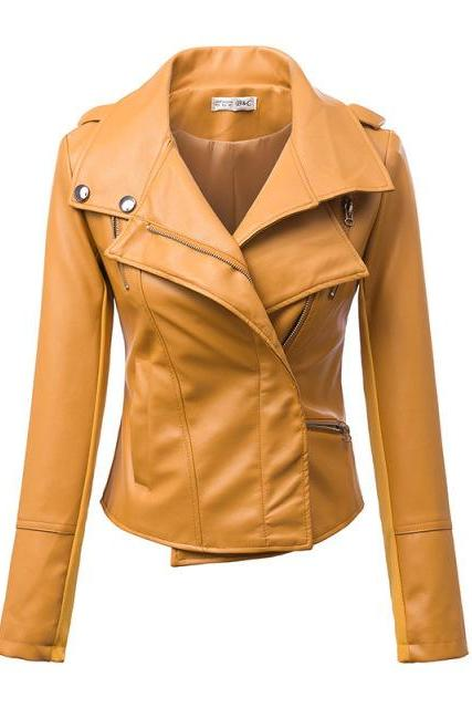 Women Turn Down Collar Slim PU Leather Jacket
