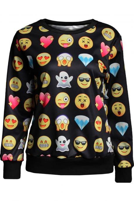 Emoji Print Womens Sweatshirt Tops