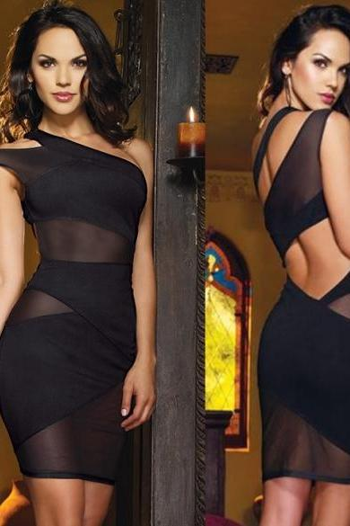 Sexy Women's One Shoulder Cut Out Mesh Mini Dress Cocktail Evening Clubwear Dress