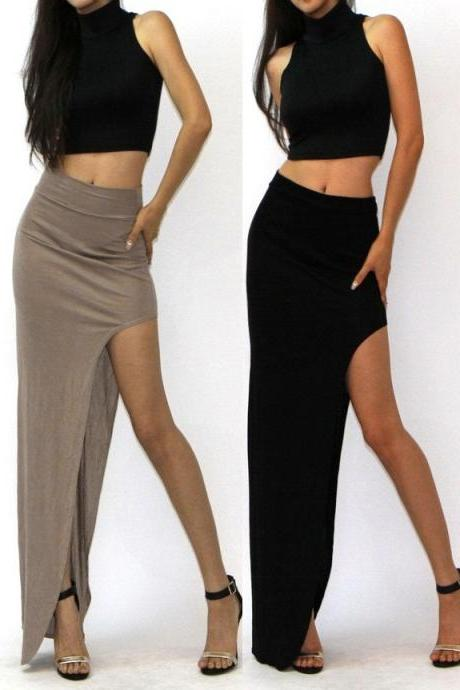Fashion Women's High Waisted Side Open Long Maxi Dress Long Skirt