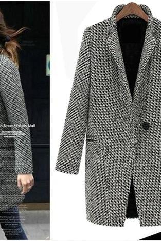 New Ladies Winter Lapel Trench Faux Wool Cashmere Long Coat