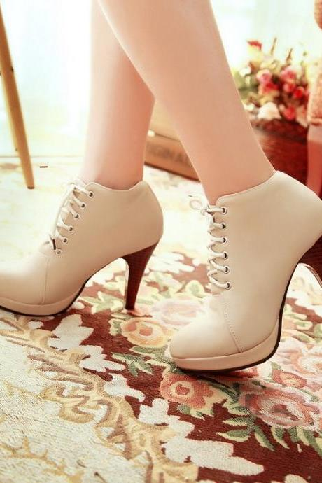 Round Toe Stiletto High Heel Lace Up Ankle Boots