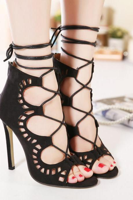Stiletto Suede Hollow Lace Up Strappy High Heel Peep Toe Shoes