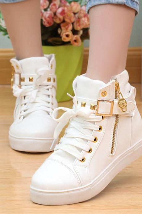 Elegant Zipper Rivet Skull Inside Increase Sports Sneakers