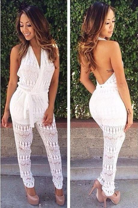 Backless Sexy Tansparent Halter Lace V-neck Long Jumpsuits