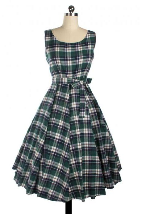 Sleeveless Bow Knot Scoop Mid-Calf Vintage Plaid Dress