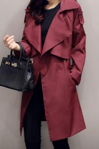 Lapel Casual Slim Plus Size Long Sleeves Knee-length Coat