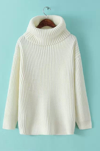 Chunky Knit Turtleneck Long Sleeves Sweater