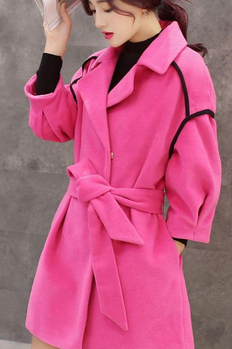 Drape Belt Slim Lapel Long Coat