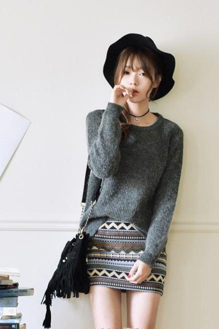 Pure Color Pullover Knit Scoop Color Mixing Sweater