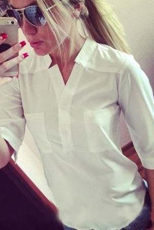 V-neck Pocket 1/2 Sleeves Slim Split OL Style Blouse