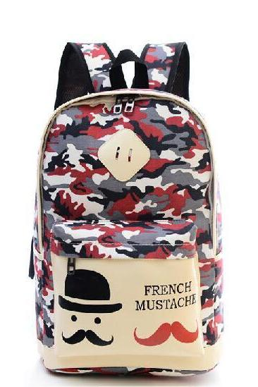 Fashion Canvas Camouflage Mustache Cartoon School Backpack Bag