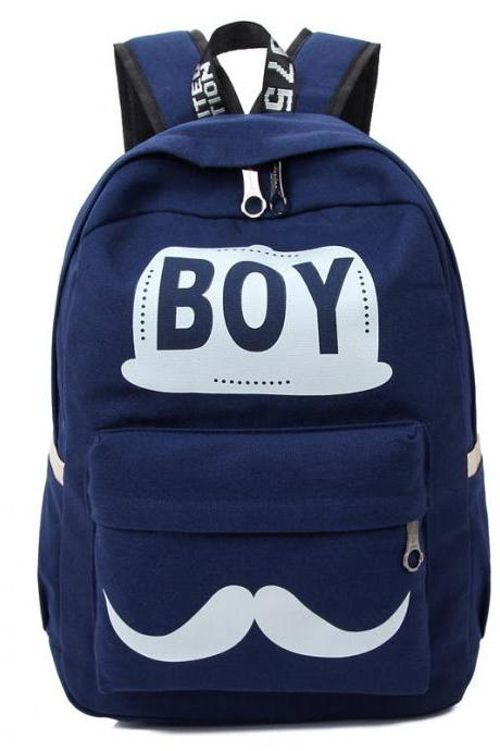 BOY Mustache Print Classical Canvas Backpack School Bag