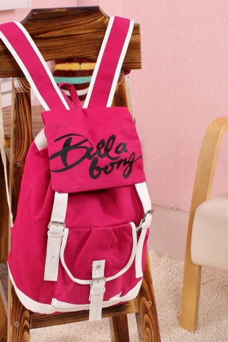 Letter Print Fashion School Backpack Canvas Travel Bag