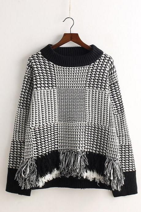 Flaid Tassels Pullover Knit Scoop Sweater