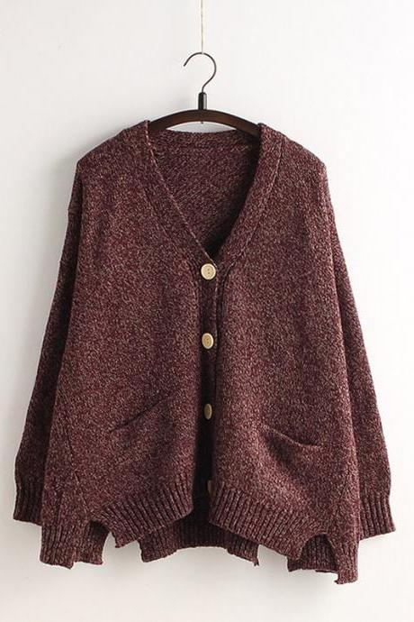 Cardigan Batwing Sleeve Loose Solid Color Knit Sweater 1124c3479
