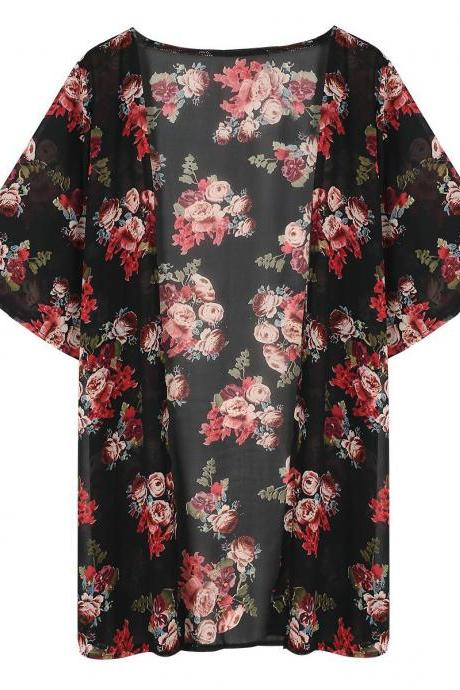 Flower Print 1/2 Sleeves Chiffon Prevent Bask Blouse