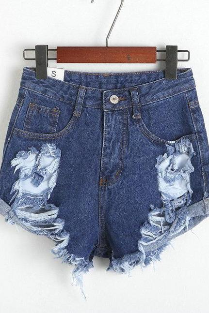 High-Waisted Distressed Denim Shorts Featuring Raw Hem