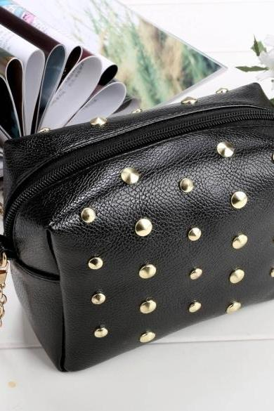 Women Synthetic Leather Shoulder Chain Shoulder Strap Rivet Mini Small Bag Tote