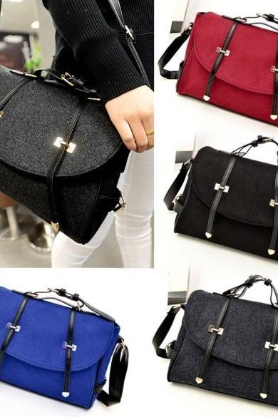 New Fashion Women's Wool & Faux Leather Tote Shoulder Bag Messenger Cross Body Handbag