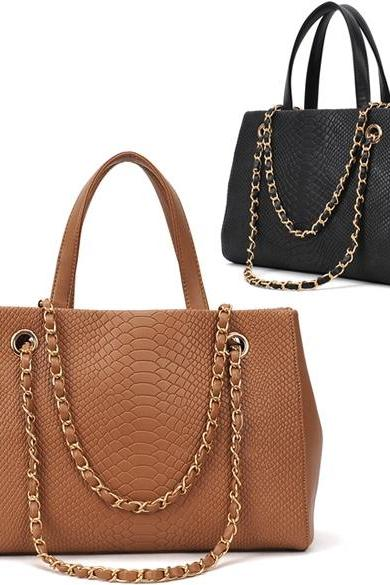 Women's Crocodile Pattern Chain Leather Handbag Shoulder Bag Tote Bag