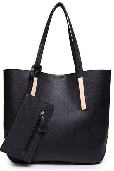 Faux Leather Tote Bag Featuring Long Shoulder Straps and Attached Pouch