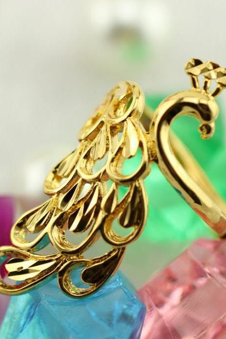 Brass peacock European style open big flower ring