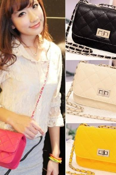 Women's Leather Cute Mini Cross Body Chain Shoulder Bag