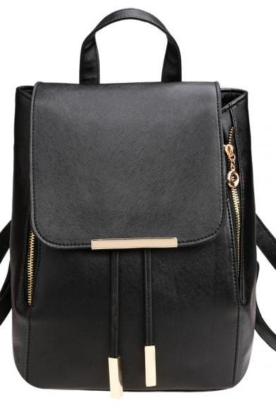 Black Faux Leather Backpack Featuring Zipper Detailing