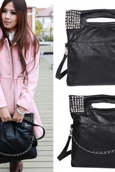 Women's Korean Faux Leather Rivet Chain Foldable Shoulder Cross body Bag