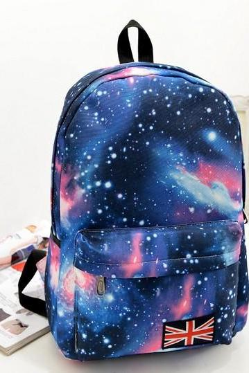 Starry Sky Print Fashion School Backpack